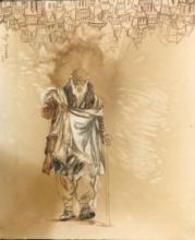 Figurative Coffee & watercolor Art Painting title Old Man by artist Fawad Tamkanat