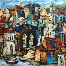 Cityscape Acrylic Art Painting title 'Silent Town 2' by artist Fawad Tamkanat
