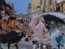 Cityscape Acrylic Art Painting title 'Street 1' by artist Fawad Tamkanat