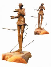 Sukanta Chowdhury | Dancing Maiden Sculpture by artist Sukanta Chowdhury on Bronze | ArtZolo.com