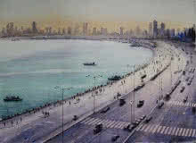 Seascape Watercolor Art Painting title 'Marine Drive Mumbai' by artist Arup Lodh