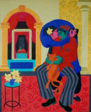 Figurative Acrylic Art Painting title 'The Seduction Drama' by artist Pradipta Chakraborty
