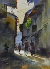 Cityscape Watercolor Art Painting title Good Morning by artist Kishor Nadavdekar