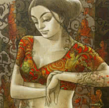 Figurative Mixed-media Art Painting title 'Radhika 10' by artist Sukanta Das