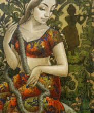 Sukanta Das | Mixed-media Painting title Radhika 11 on Canvas | Artist Sukanta Das Gallery | ArtZolo.com