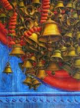Religious Acrylic Art Painting title 'Varanasi 16' by artist Anil Yadav