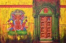 Religious Acrylic Art Painting title Varanasi 19 by artist Anil Kumar Yadav