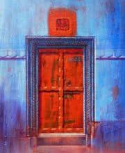 Religious Acrylic Art Painting title 'Varanasi 3' by artist Anil Yadav