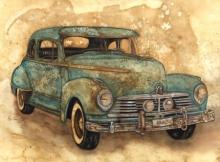 Transportation Coffee & watercolor Art Painting title Untitled 1 by artist Afza Tamkanat