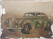 Transportation Coffee & watercolor Art Painting title Vintage Car 1 by artist Afza Tamkanat