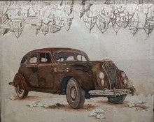 art, painting, watercolor, coffee, canvas, paper, transportation, car