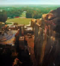 Cityscape Oil Art Painting title 'The Kailasa Temple' by artist Raju More