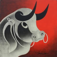 Animals Acrylic Art Painting title 'Bull Head 1' by artist H R Das