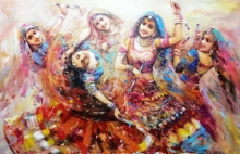Figurative Acrylic Art Painting title 'The Celebration Gangour 3' by artist Ranjit Sarkar