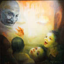 Figurative Acrylic Art Painting title 'The Emotional Watching 4' by artist Ranjit Sarkar
