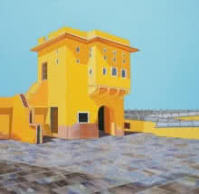 Cityscape Acrylic Art Painting title 'Panna Meena Kund 2' by artist Ajay Mishra
