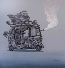 Manjunath Wali | Mixed-media Painting title Journey 2 on Canvas | Artist Manjunath Wali Gallery | ArtZolo.com