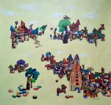 Figurative Acrylic Art Painting title 'My Village 2' by artist Manjunath Wali