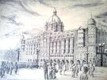 Landscape Pen-ink Art Drawing title 'Prashant Sinha hotel Taj Mahal Mumbai Me' by artist Prashantarts