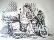 Figurative Pen-ink Art Drawing title Prashant Sinha the Rurals Medium Pen ink by artist Prashantarts