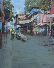 Cityscape Acrylic Art Painting title Breathing Lights 4 by artist Pramod Jagtap