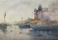 Cityscape Watercolor Art Painting title 'Evening At Varanasi' by artist Rupesh Sonar