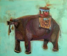 Animals Acrylic Art Painting title 'Non Ruminant' by artist Tamojit Bhattacharya