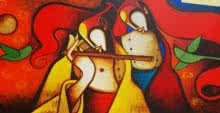 Figurative Acrylic Art Painting title 'Splendours Of Love 1' by artist Om Swami