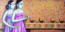 Pravin Utge | Acrylic Painting title Enlighting on Canvas | Artist Pravin Utge Gallery | ArtZolo.com