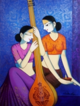 Figurative Acrylic Art Painting title 'Girls Playing Sitar' by artist Pravin Utge
