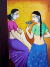 Figurative Acrylic Art Painting title Girls With Flower by artist Pravin Utge