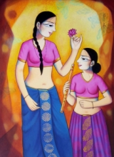 Figurative Acrylic Art Painting title Girls With Lotus by artist Pravin Utge