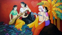 Religious Acrylic Art Painting title 'Krishna With Gopis' by artist Pravin Utge