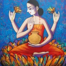 Lord Laxmi | Painting by artist Pravin Utge | acrylic | Canvas