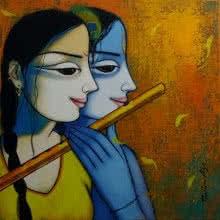 Pravin Utge | Acrylic Painting title Radha Krishna 1 on Canvas | Artist Pravin Utge Gallery | ArtZolo.com