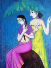 Pravin Utge | Acrylic Painting title Women Enjoying Rain 1 on Canvas | Artist Pravin Utge Gallery | ArtZolo.com