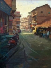 Cityscape Acrylic Art Painting title Glory Of Light by artist Suresh Jangid