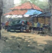 Suresh Jangid | Acrylic Painting title Landscape on Stretch Canvas | Artist Suresh Jangid Gallery | ArtZolo.com