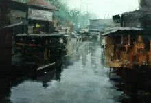 Suresh Jangid | Oil Painting title Reflection 1 on Stretch Canvas | Artist Suresh Jangid Gallery | ArtZolo.com