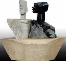 Pradeep Jogdand | Untitled 8 Sculpture by artist Pradeep Jogdand on White, Black Marble | ArtZolo.com