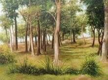 Nature Oil Art Painting title Standing High by artist Arabinda Mukherjee