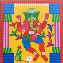 Religious Acrylic Art Painting title 'Ganesha' by artist Thota Laxminarayana