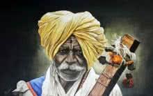 Portrait Acrylic Art Painting title 'Warkari' by artist Prasad Karambat