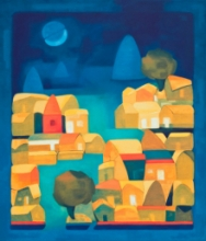 Abstract Oil Art Painting title Moonlight by artist Dipak Asole