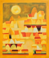 Abstract Oil Art Painting title The Burning Afternoon by artist Dipak Asole