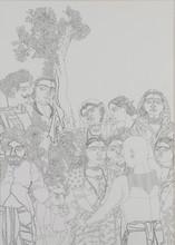 Figurative Pencil Art Drawing title Village Scene 4 by artist Laxma Goud
