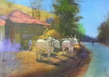 Cityscape Acrylic Art Painting title 'Bull In Village' by artist Jitendra Gaikwad