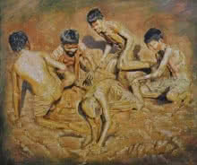 Figurative Oil Art Painting title 'Celebration Born To Live 1' by artist Jitendra Gaikwad