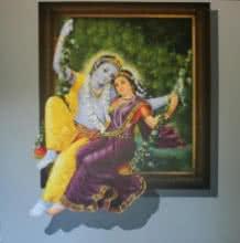 Religious Acrylic Art Painting title 'Radha Krishna' by artist Jitendra Gaikwad