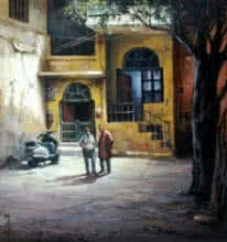 Shuvendu Sarkar | Acrylic Painting title Alleyway on Canvas